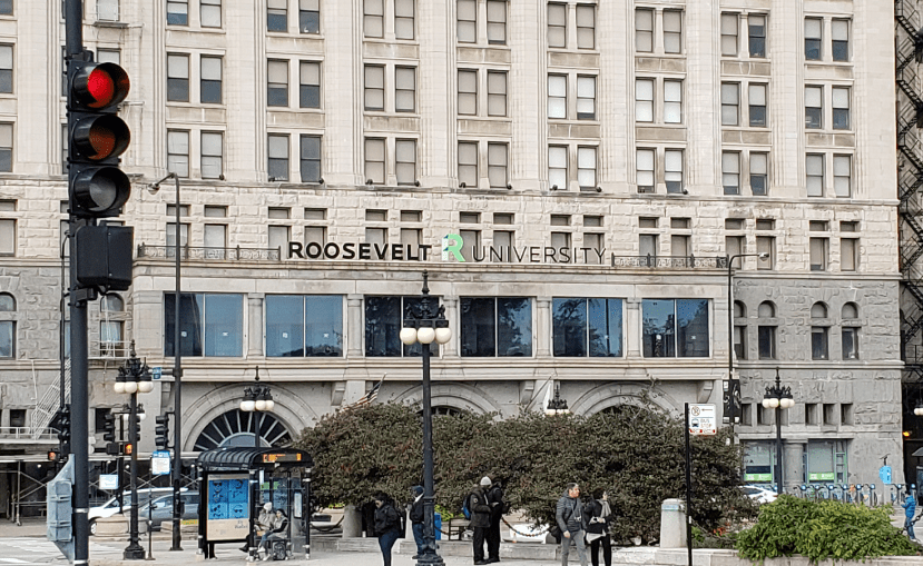 Roosevelt University sign with new letter T in place.