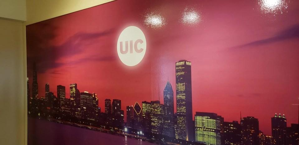 Photo mural of chicago skyline