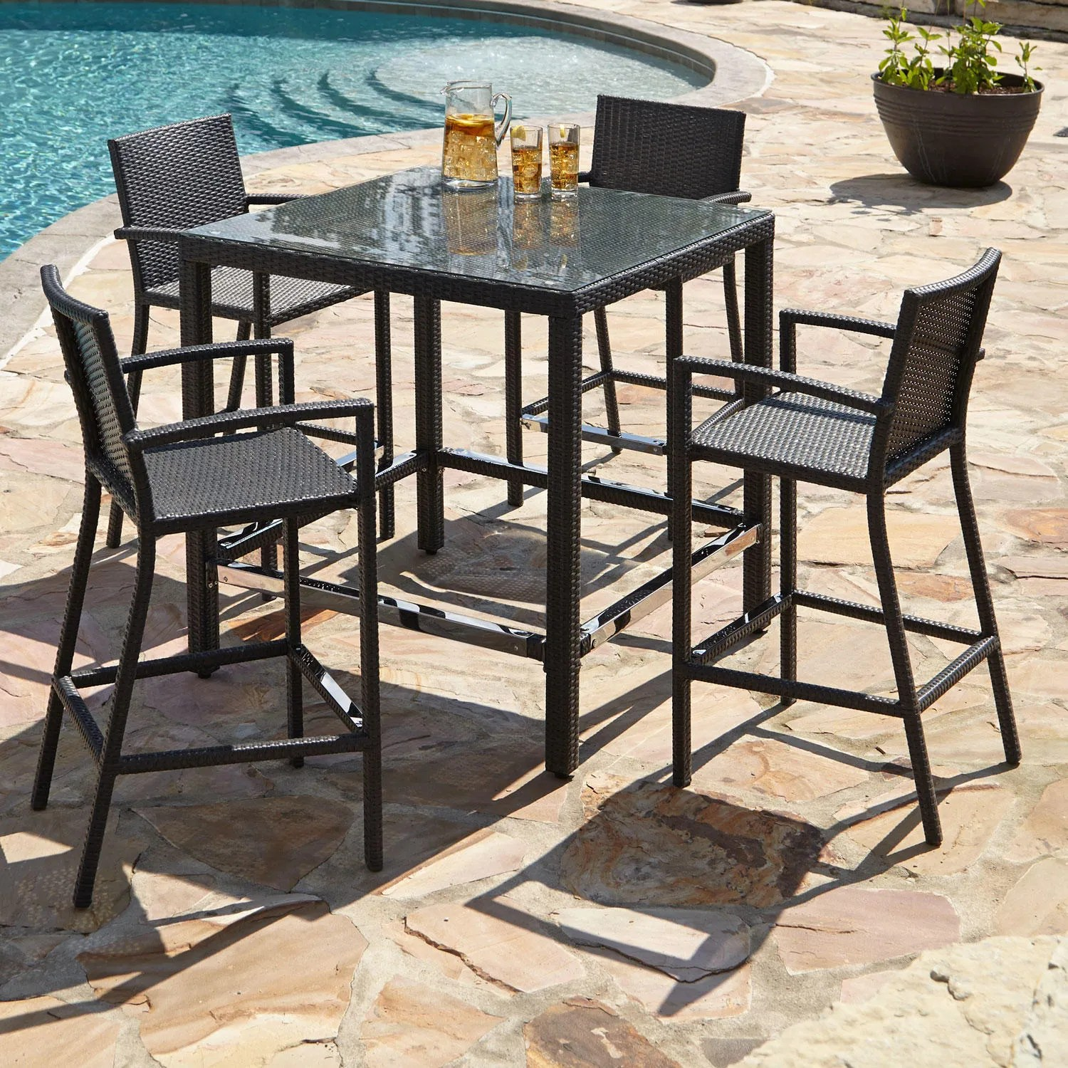 Outdoor Bar Table And Chairs Michio Resin Wicker 5 Piece Bar Table And Arm