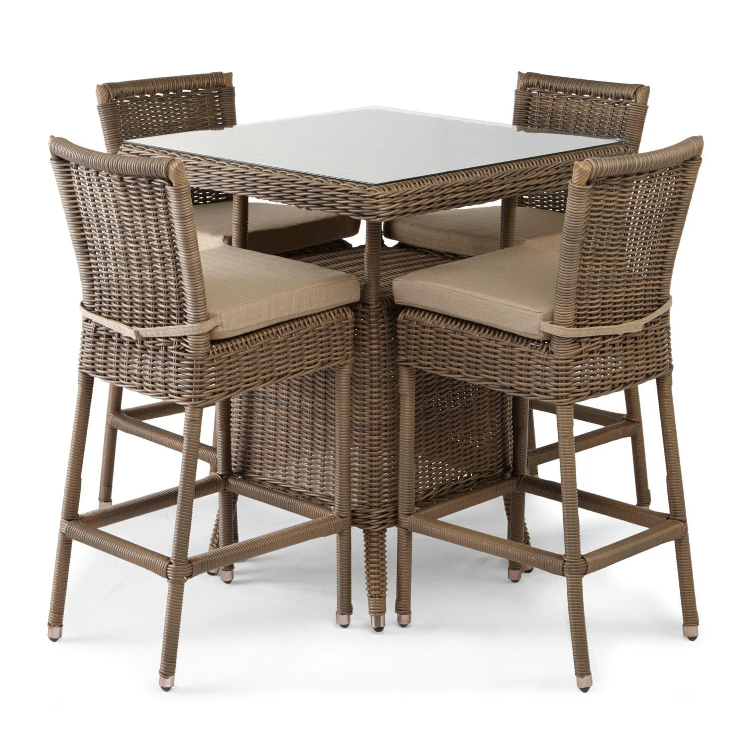 Outdoor Bar Table And Chairs Alcee Resin Wicker Patio 5 Piece Bar Table And Chair Set