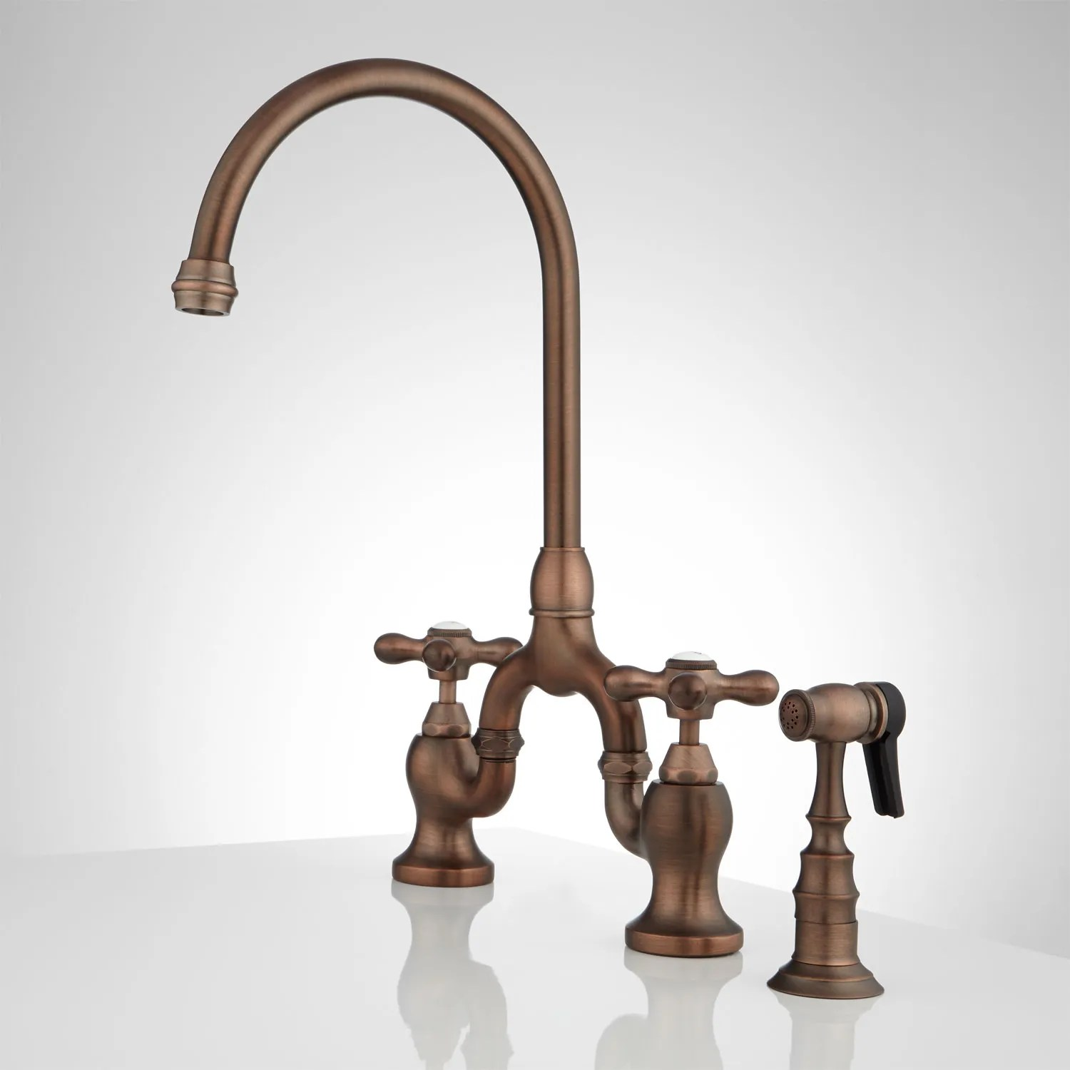 Ponticello Bridge Kitchen Faucet With Side Spray Cross