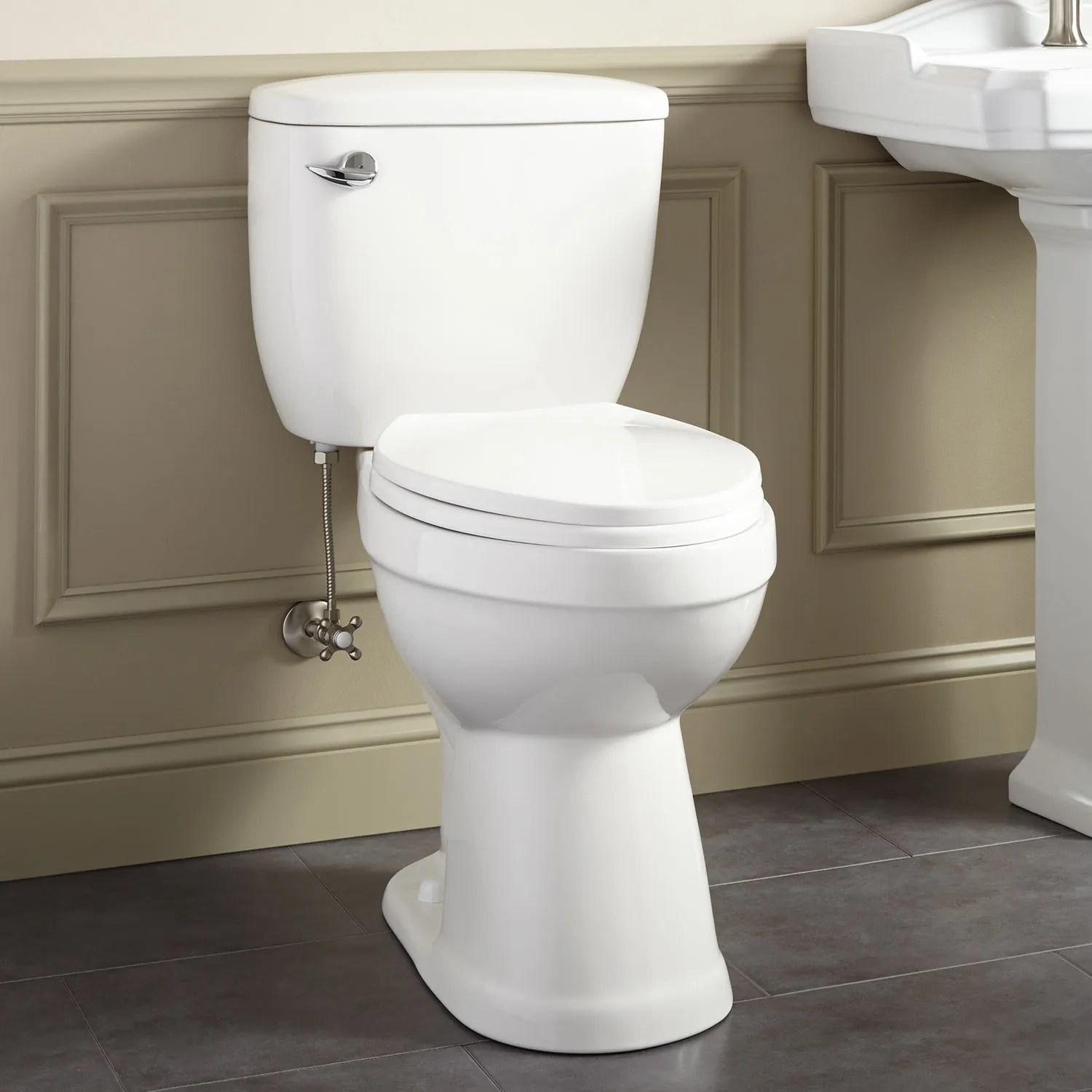 Chair Height Toilets Stalnaker Siphonic Two Piece Elongated Toilet 19 Quot Seat