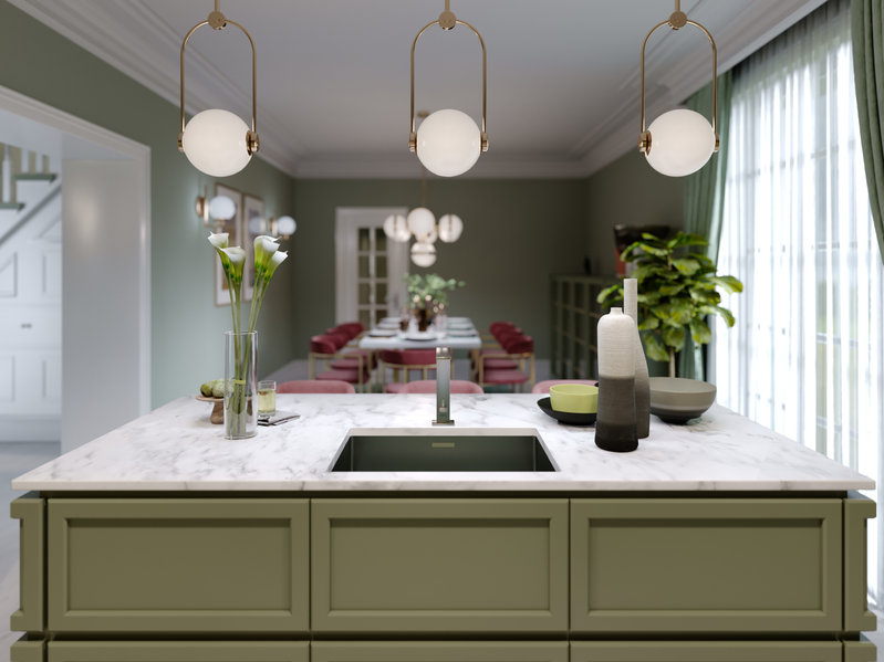 Designer kitchen island pistachio color with decor and lamps over