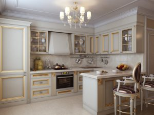 A Luxurious Kitchen in a Classic Style with Classic Gilded furniture