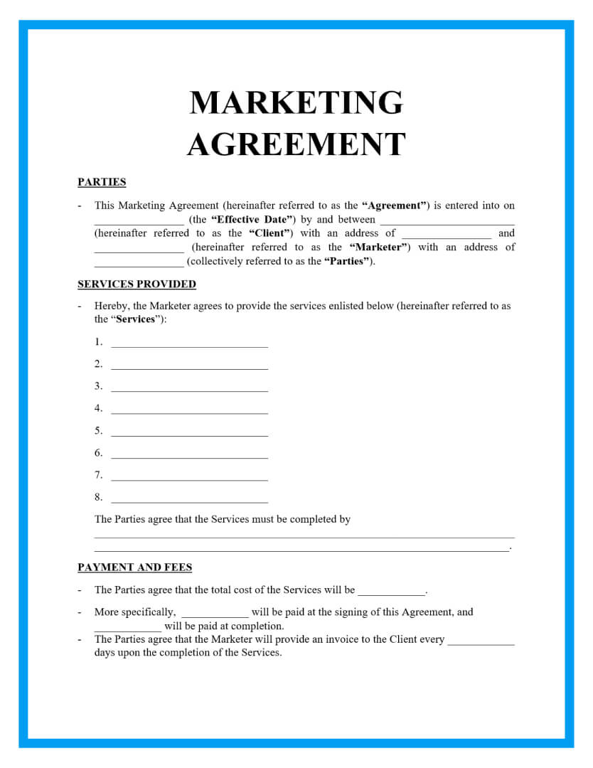The client wishes to enter into a consulting relationship with gbs with the leons and conditions set forth in this agreement, and gbs is willing to accept such a consulting relationship. Free Professional Marketing Agreement Template For Download