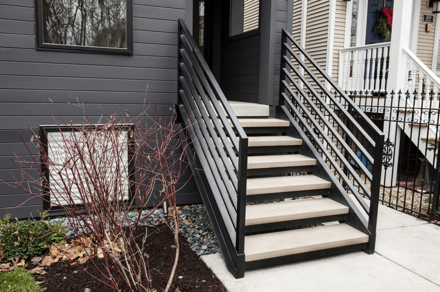 Looking For Custom Mid Century Modern Open Riser Straight Stairs | Black Outdoor Stair Railing | Interior Stair | Modern | Pipe | Composite Deck | 2 Step