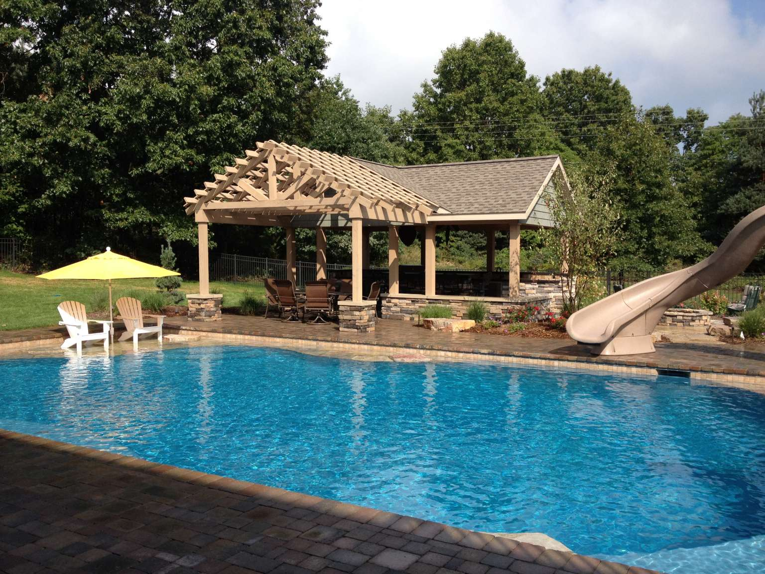 Kalamazoo Pool With Natural Stone Accents Cabana Outdoor