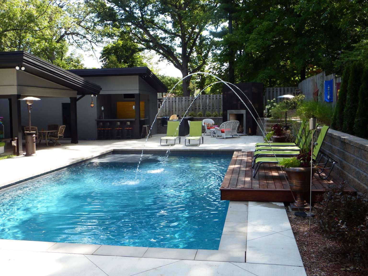 East Grand Rapids Modern Pool, Outdoor Kitchen, and Fireplace ...