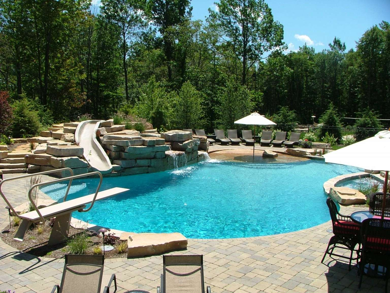 full pool view with slide