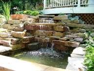 cascading waterfall stonework