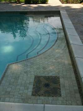 tile inlay ledge and steps