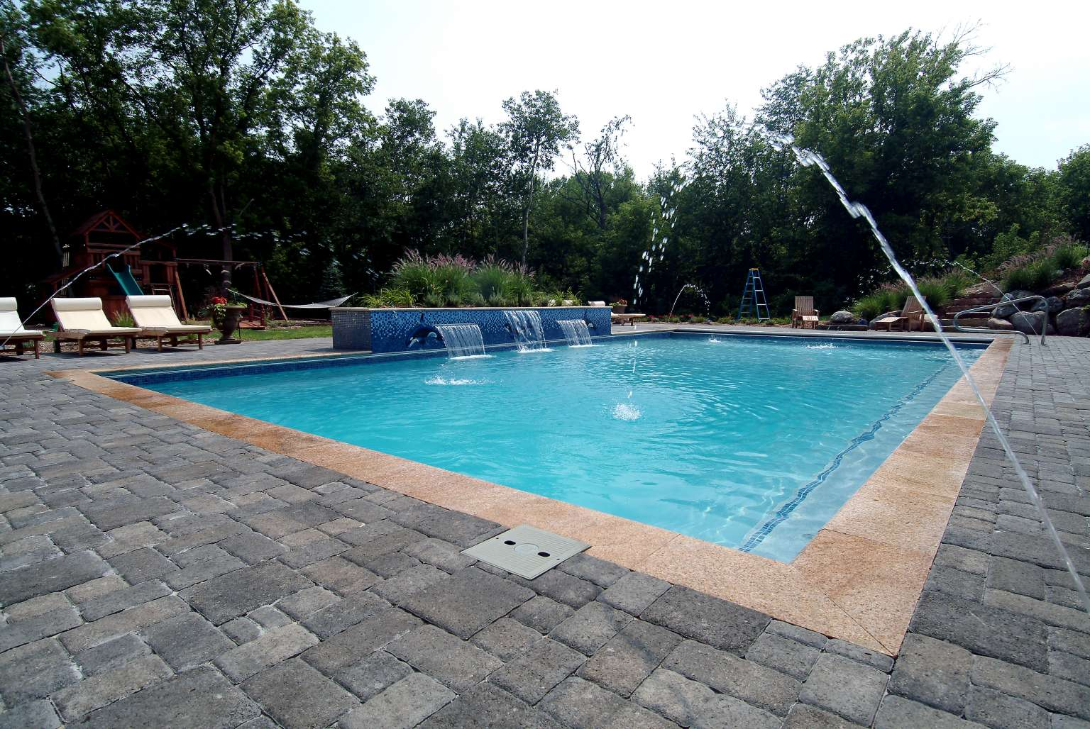 Cascade Pool With Custom Tile Mosaic Pergola Outdoor
