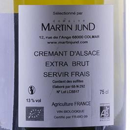 Photo de l'étiquette de la bouteille de Crémant brut du Domaine JunD