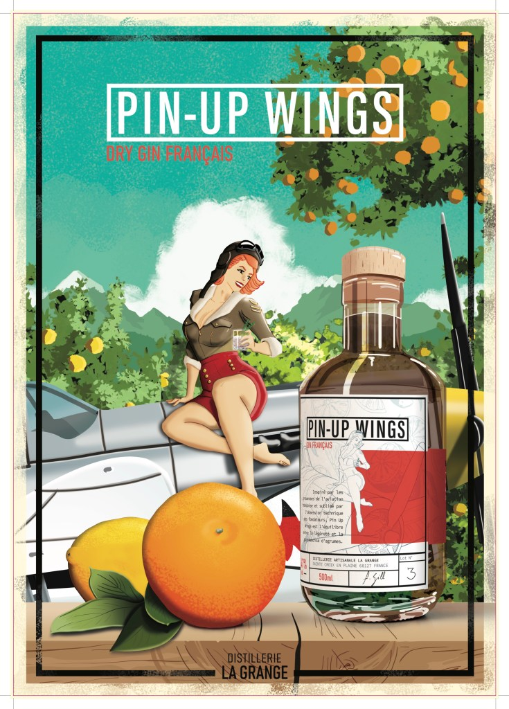 Poster-Pin-Up de la distillerie La grange