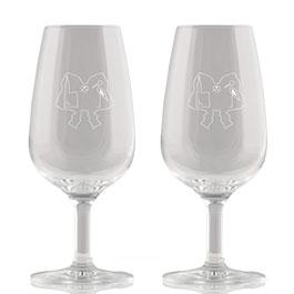 Photo des deux verres gravés aux couleurs des Colmar Box