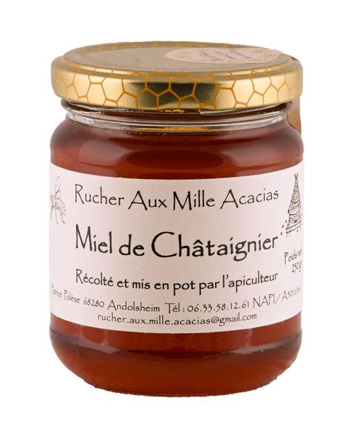 Photo de détail Pot de Miel de Châtaignier par le Rucher aux Mille Acacias