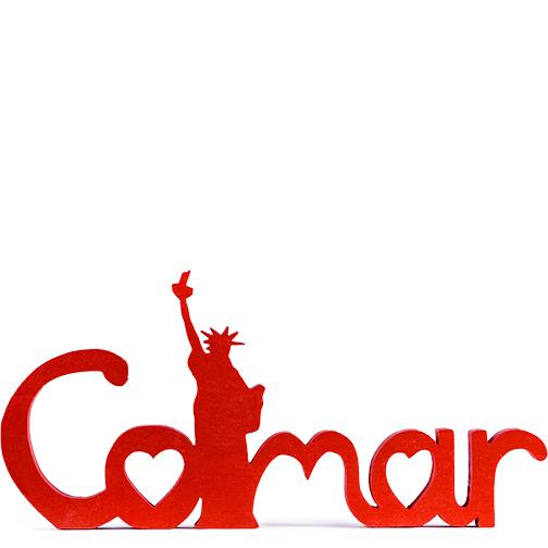 Photo du lettrage Colmar Liberty, rouge, une création Signatures d'Alsace