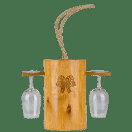 Seau à vin et porte-verres</br>en bois d'aulne massif 100% Alsace + 2 verres Signatures