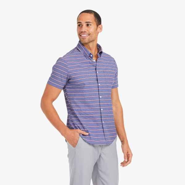 Mizzen + Main Short Sleeve Chambray Horizontal Stripe