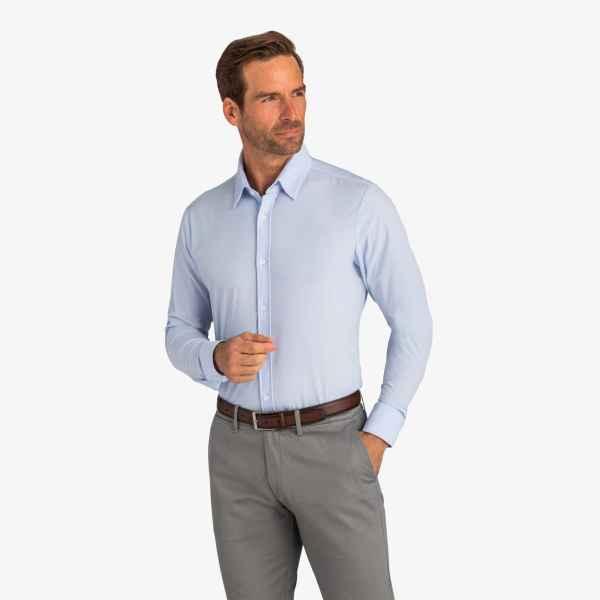 Mizzen + Main Leeward Blue Label Solid Light Blue Dress Shirts
