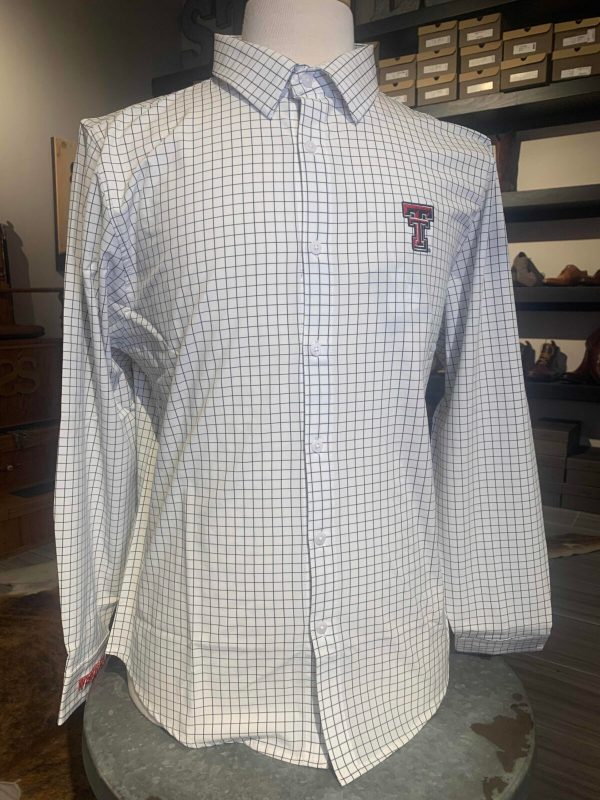 Black and White Woven Button Up Double T Polo Shirts for Men
