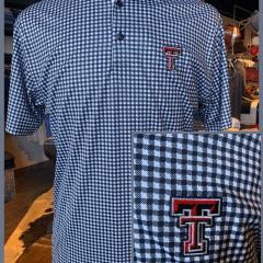 Black/White Glen Plaid Texas Hand Trim Polo- Double T
