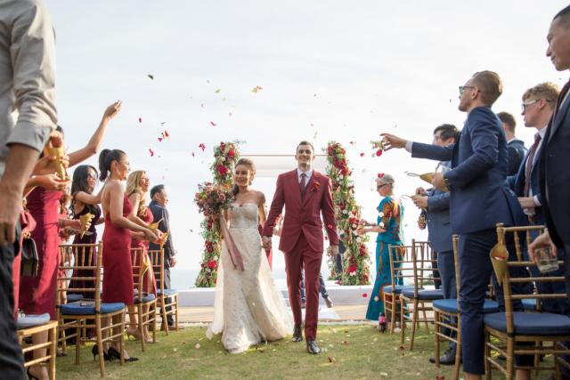 Apple and Asa striking red destination wedding in Phuket