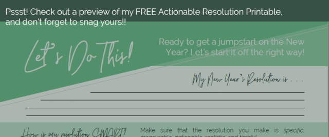 New Year's Resolution Actionable Printable