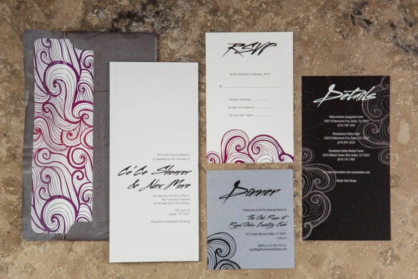 1 Modern Wedding Invitations Edgy Black White Red Purple Swirl Ombre
