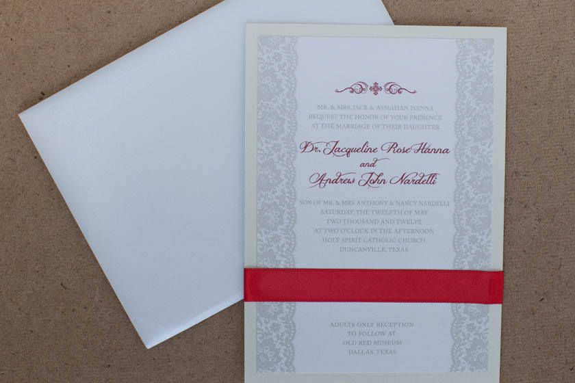 Red Ivory And Taupe Wedding Invitations