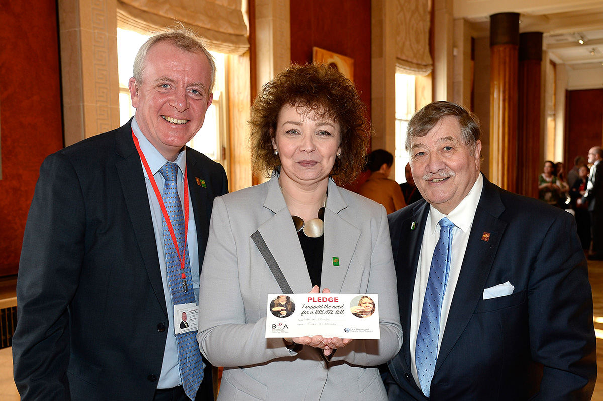 Minister Caral Ni Chuilin with Damian Barry and Dr Terry Riley