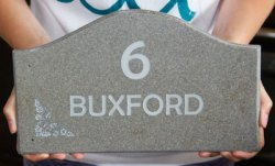 Shaped Corian House Sign