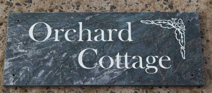 Slate house sign in silver nickel slate