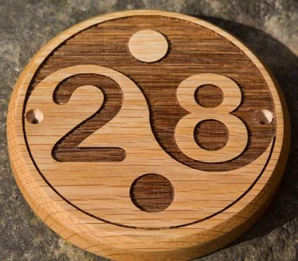 Lasered wooden number