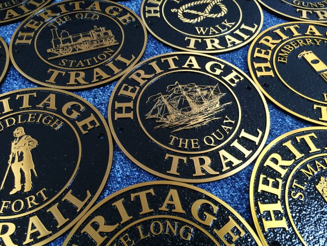 Cast Bronze Heritage Trail Signs