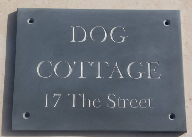 Slate sign with grey letters