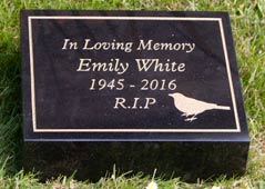 Black Granite Grave Marker