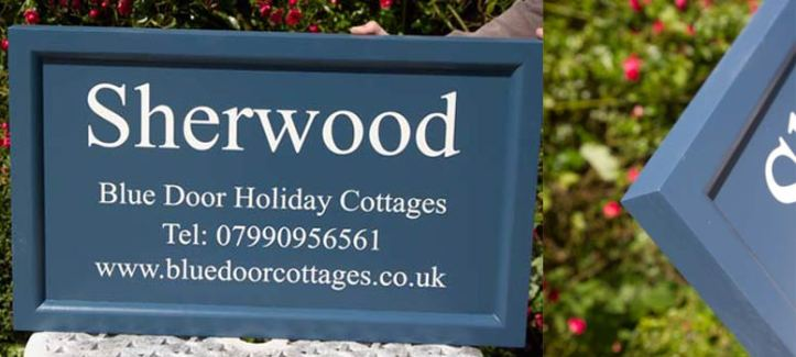 Painted tricoya signs with a chamfered edge