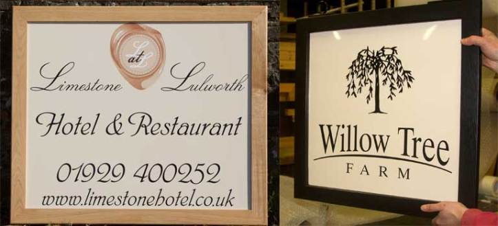 Framed hanging signs made by The Sign Maker in North Devon