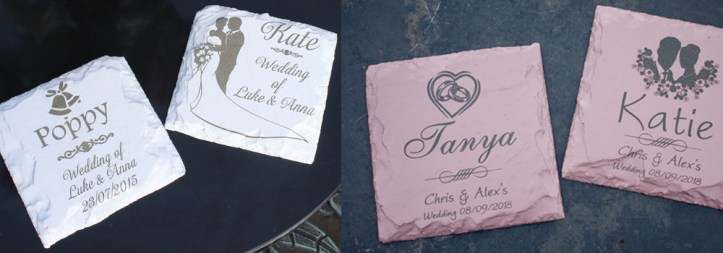 Painted wedding coasters crafted by The Sign Maker in North Devon