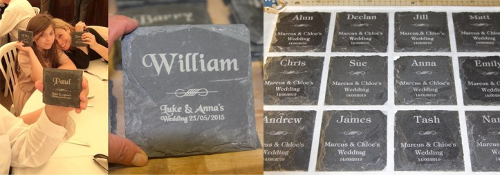 Slate coasters made by craftsmen at The Sign Maker in North Devon.