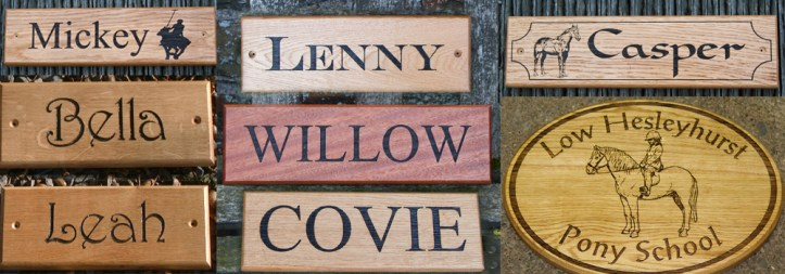 Stunning wooden stable nameplates crafted by The Sign Maker.