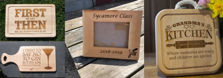 Personalised photo frames and chopping boards by The Sign Maker.