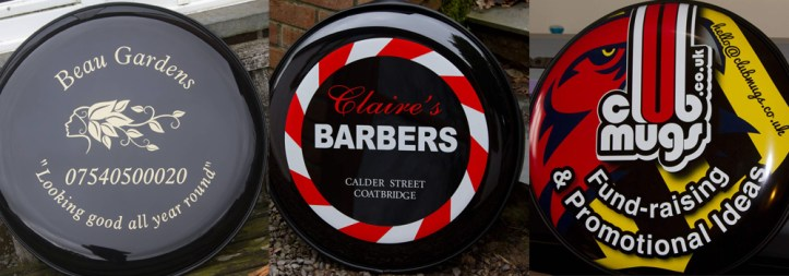 Wheel covers are a great way to advertise your business while on the move. Order yours from The Sign Maker.