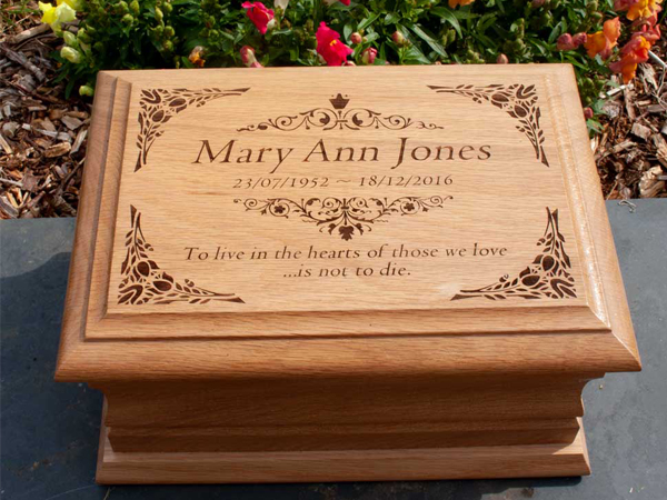 High quality caskets and urns, personalised at The Sign Maker.
