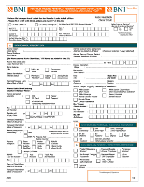 E-form Bni Tabungan Prakerja : e-form, tabungan, prakerja, Contoh, Formulir, Pembukaan, Rekening, Printable, Template, SignNow