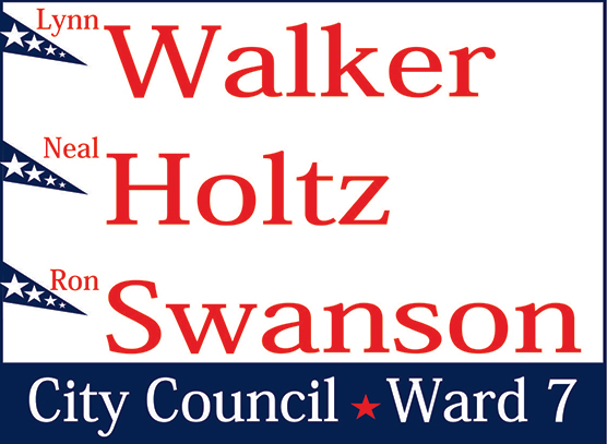 Example of a 2 Color Yard Sign. Blue and Red,