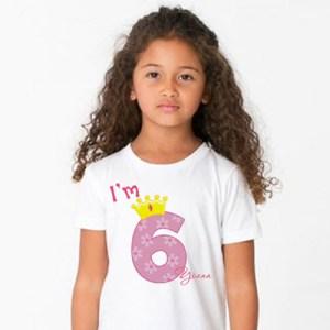 Детска тениска с надпис Аз съм на 6 за момиче