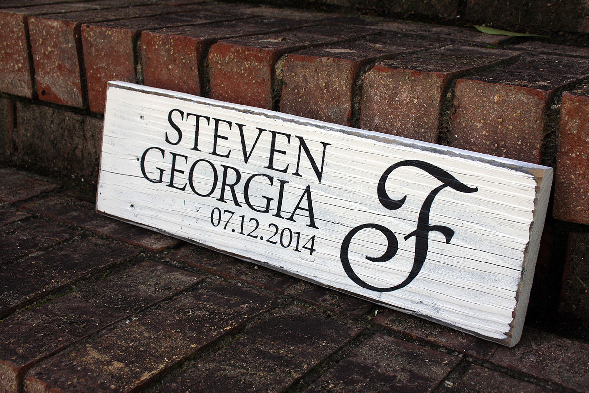 First Names with Wedding Date Painted Wood Sign  Signs by Andrea