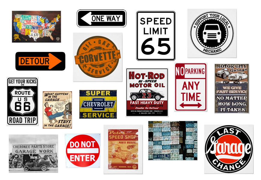 Road Signs Vintage Garage Signs  Car Mechanic Art